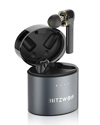 Bluetooth Kopfhörer, BlitzWolf TWS Bluetooth 5.0 QCC3020 Wireless Drahtlose Sport Kopfhörer Ohrhörer Headset Graphen Dynamic Dual-Treiber Touch Steuerung für iPhone Samsung Smartphone(Schwarz)