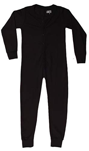 At The Buzzer Thermal Union Suits for Boys 7373-BLK-8 Black