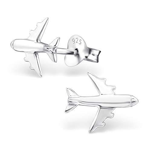 Monkimau Oorstekers voor meisjes, vliegtuig, van 925 sterling zilver