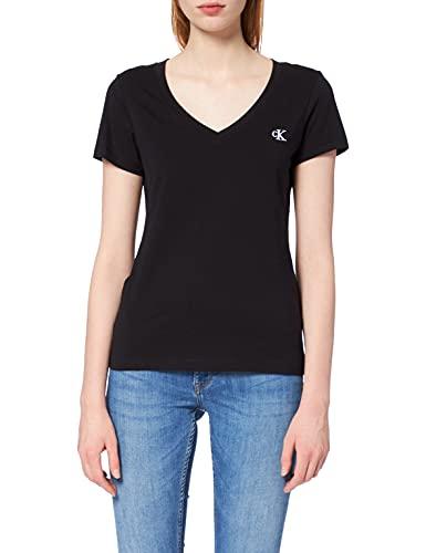 Calvin Klein Embroidery Stretch V-Neck Camiseta, Negro (CK Black Bae), S para Mujer
