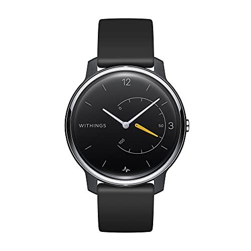 Withings Move ECG, reloj híbrido conectado con grabación de ECG, monitor de actividad y monitor de sueño, GPS conectado, resistente al agua, duración de la batería 12 meses, color negro