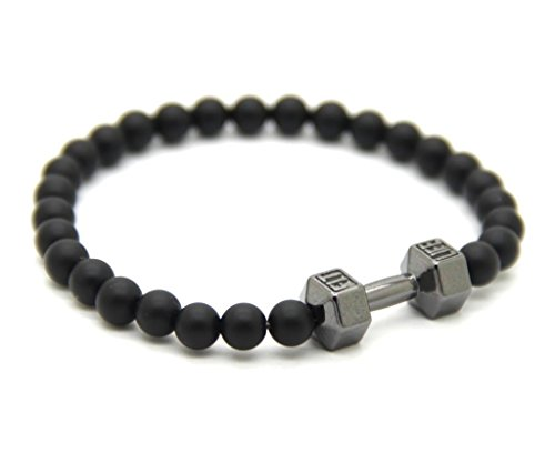 Lion&Son Fitness-Armband Herren-Mode-Schmuck Obsidian Vintage-Fashion Damen-Accessoire Sport-Band, Farbe:Grey