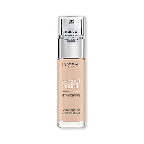 L\'Oréal Paris Fondotinta Accord Parfait, Effetto Naturale, con Acido Ialuronico 1R/1C Ivory Rose/Rose Ivory