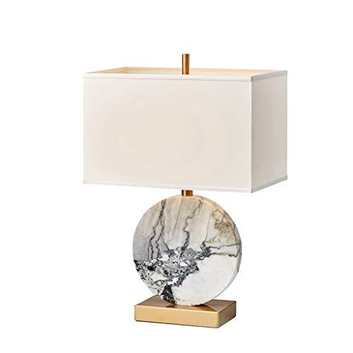 TDJJZHXYP Nueva lámpara de Mesa de mármol Chino Sala de Estar Sala de Estudio Emeralda Tela Verde Atmosférico Creativo Simple Dormitorio Cálido Lámpara de Noche