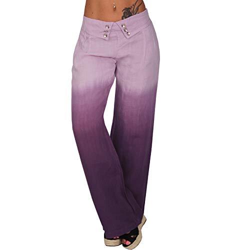 C.G 0206 - Pantaloni estivi Hippie Zier Bottoni Batik, gamba dritta, con bottoni Lilla 42
