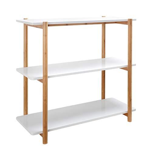Konsolentisch Sofatisch Bücherregal Standregal aus Bambus Holz mit 3 ablagen für Büro Wohnzimmer (Weiss, 80x36,5x80cm)