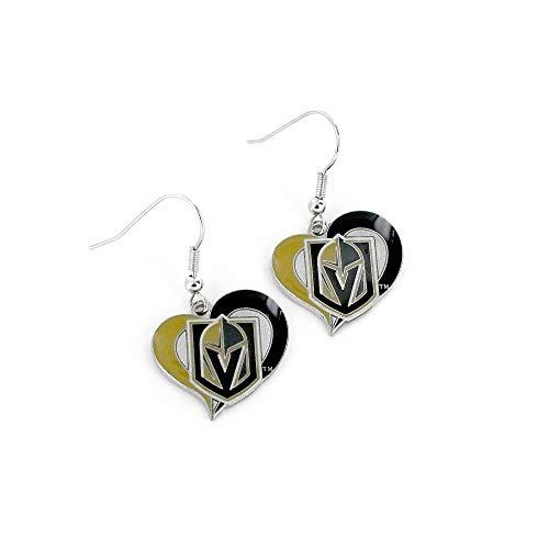 Aminco NHL Vegas Golden Knights Swirl Heart Earrings Team Color, 2.5