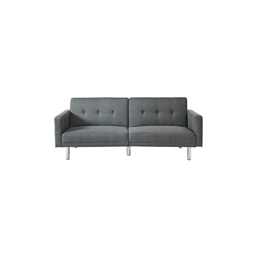 Montreal canapé Droit Convertible 3 Places - Tissu Gris - Contemporain - l 209 x p 82 cm