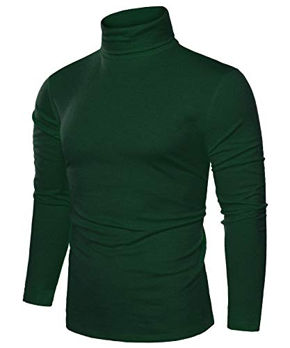 Coofandy Mens Casual Basic Thermal Turtleneck Slim Fit Pullover Thermal Sweaters, Green, XXX-Large