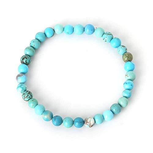 BIJOUX Light Blue Grain Armband Natural Fashion Stone Armband für Frauen Männer Tigerauge Perlen Yoga Stretch Armbänder Armreifen Liebhaber, Reisen, Join Parties und geben ihren Freunden das beste Gi