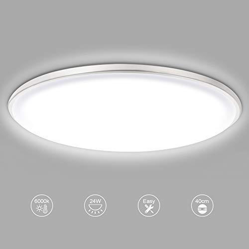 LED Deckenleuchte dimmbar rund Deckenlampe Ø40cm weiß, modern dünn Innenleuchte I 24W 1800lm 3000/4000/6000K Energiesparende LED Leuchtmittel mit Metallbasis Design für Schlafzimmer Wohnzimmer & Küche