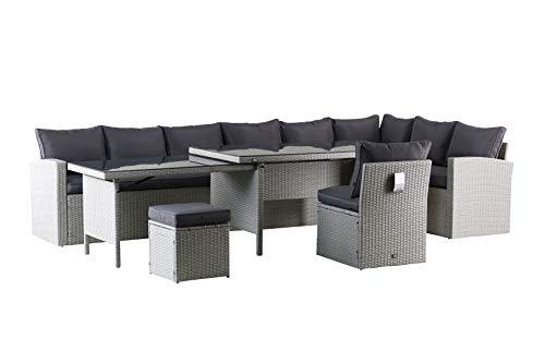 Mandalika Garden Hohe XXL Dining Poly Rattan Lounge Kea rechts grau
