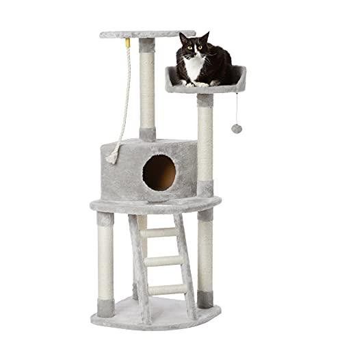 Amazon Basics - Albero per gatti con cuccia, torre, palo tiragraffi e scala, 48,26 x 48,26 x 132 cm, grigio chiaro
