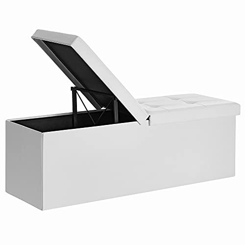 SONGMICS Faltbarer Sitzhocker, Sitzbank mit 120 L Stauraum, bis 300 kg belastbar, Kunstleder, LSF75WT
