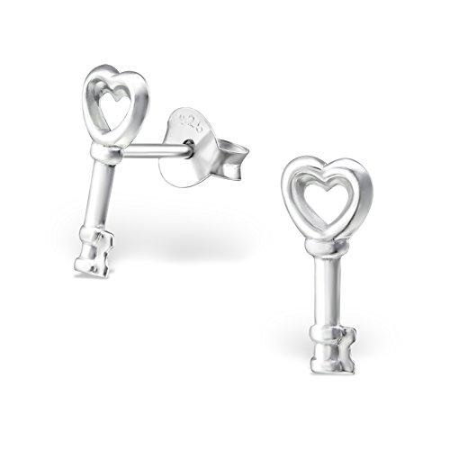 Clé en forme de cœur Boucles d'oreille à tige–Argent Sterling 925–Taille: 5mm x 12mm Boîte cadeau offert–La Rose & Silver Company–Rs0108