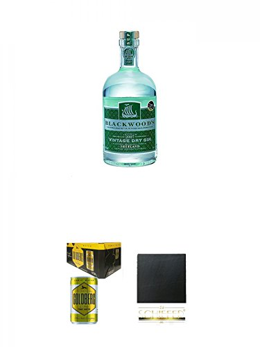 Blackwoods Vintage Dry Gin 40% 0,7 Liter + Goldberg Tonic Water DOSE 8 x 0,15 Liter Karton + Schiefer Glasuntersetzer eckig ca. 9,5 cm Durchmesser