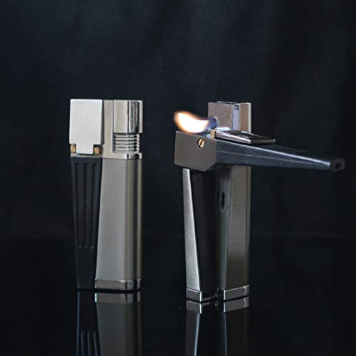 Multipurpose Metal Pipe Lighter, Butane Refillable Lighter with Adjustable Flame Dial (Gas Not Included)