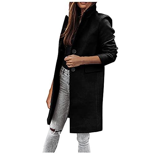 Abrigo de lana de solapa para mujer con un solo botonadura mezcla chaqueta cálida y delgada, abrigo largo con bolsillo, Negro, M