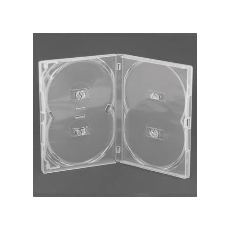 Amaray - Caja para DVD, transparente (capacidad para 4 discos)