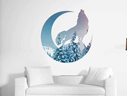 Tra56owe Vinilo decorativo de pared con diseño de lobo y luna bosque, acuarela de animales Woodland Wolf Wall Decor