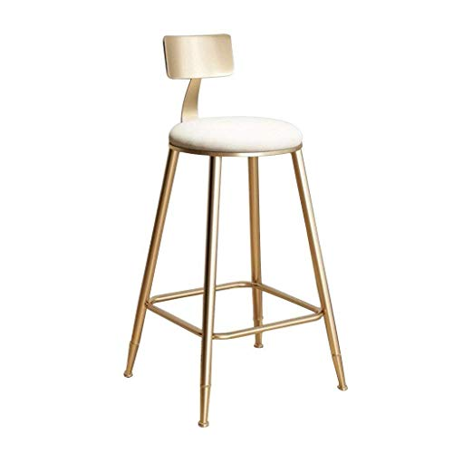 PIVFEDQX Dining Chair Bar Stools Dining Chair High Stool Retro Wrought Iron Gold Cafe Teahouse Breakfast Counter Porch Restaurant Breathable Flannel Material Size Sitting Height 18in