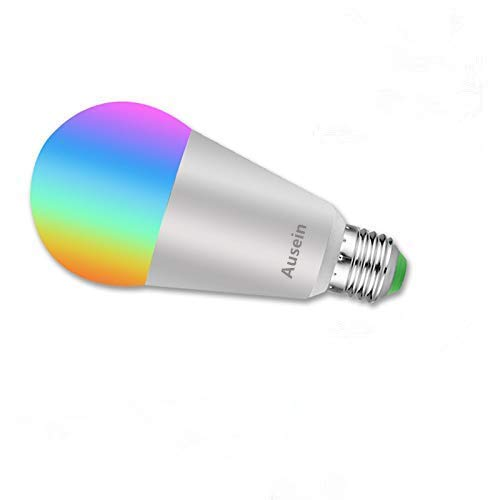 Bombilla de luz LED inteligente, bombillas Wi-Fi 7W, controlada por teléfono inteligente regulable, compatible con Alexa, Asistente de inicio de Google, No se requiere hub, E27 A19