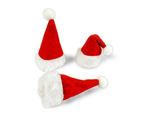 * 3er-Set kleine Weihnachtsmann-Mützen | Nikolaus-Mützen | Höhe: ca. 10 cm