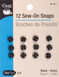 Dritz - Broches para coser (3/0, 12 unidades, 80 30 1, 3 unidades), color negro