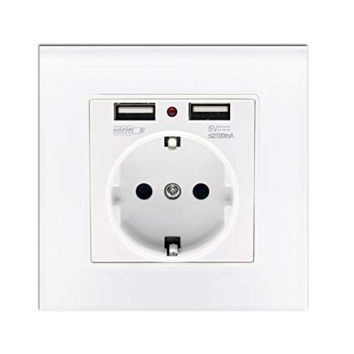 wkd-thvb - Panel de cristal con doble puerto de carga USB 2,1 A 16 A, enchufe de pared europeo, color blanco, negro, dorado y gris