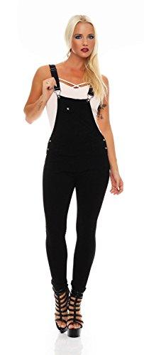 Fashion4Young 5354 Damen Latzhose Röhrenhose Pants Hose mit Trägern schwarz Damenhose Gr. 34-42 (S = 36, Schwarz)