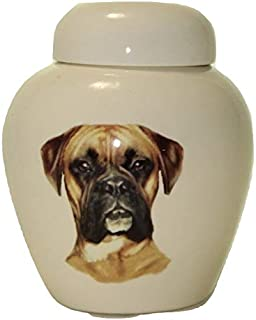 Skyline Arts Boxer Dog Urn- Cremation Urn or Keepsake for Ashes - Hand Made Pottery