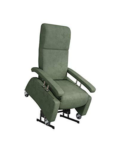 DEVITA - Pflegesessel LUTRA Lift Easy 2 mit Aufstehhilfe bis 160 kg Rollen, Schiebegriff, versenkbare Armlehnen und verstellbarer Rückenlehne - Aufstehsessel, Fernsehsessel, Relaxsessel - mit Netzstecker und Akku - green mikrofaser