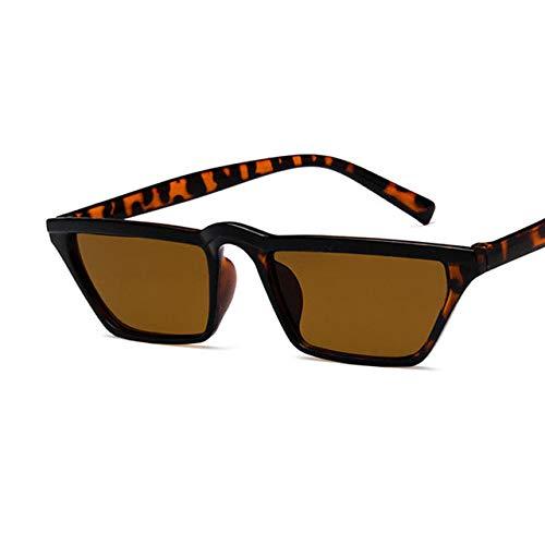 YUANCHENG Gafas de Sol Planas con Montura Gafas clásicas de Color Antiguo Gafas de Sol con Montura Estrecha Cat Eye Gafas de Sol Unisex UV400 7-Leopard