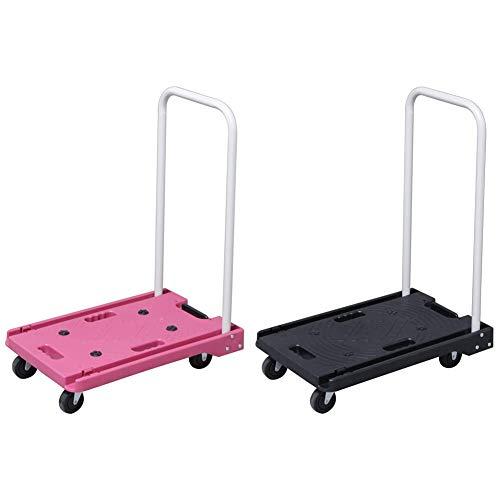 アイリスプラザ 台車 折りたたみ 軽量 静音 耐荷重 キャスター 100kg ピンク & 折りたたみ 台車 100kg ブラック【セット買い】