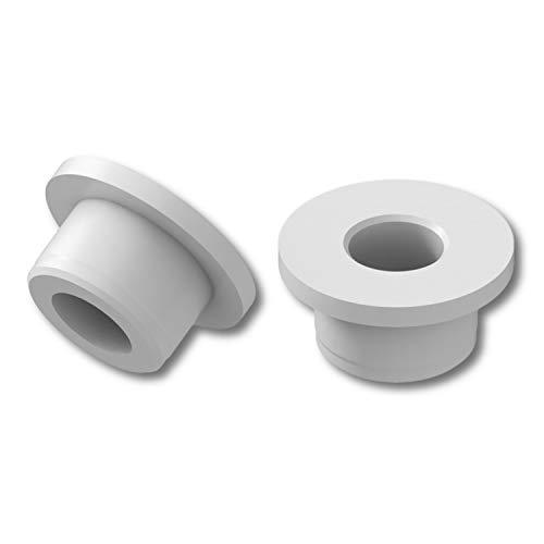 4 boccole di supporto, in plastica PA, con flangia, colore naturale, le dimensioni possono presentare tolleranze.