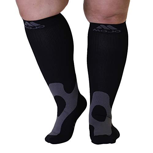 5XL Mojo Compression Socks 20-30 mmHg Extra Wide Plus Size Unisex Bariatric Support Compression Stockings - Edema, Varicose Veins, Lymphedema - A601BL8 Black XXXXX-Large