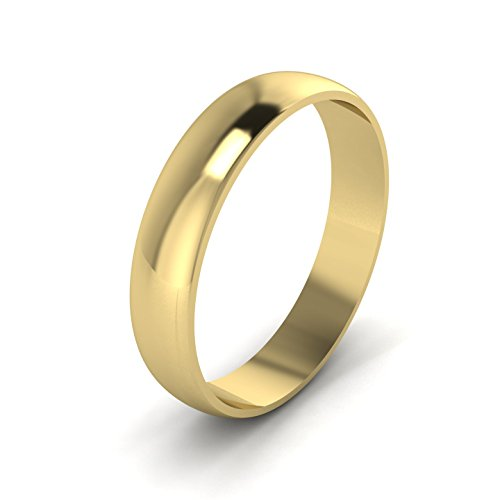 Unisex 4mm D Shape Solid 9ct Yellow Gold Polished Plain Band Wedding Ring (K)