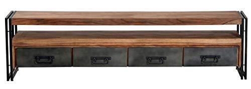Sit Möbel Panama Lowboard Shesham gebeizt und geölt mit Altmetall und Gebrauchsspuren B 200 x T 40 x H 55 cm natur mit antikschwarz 4 Schubladen, 1 offenes Fach