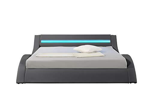 HYPNIA - Cama Design LED gris-140 x 190 (cm)