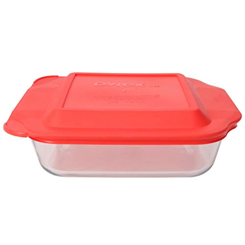 Pyrex (1) 222 Square Glass Baking Dish & (1) 222-PC Red Lid