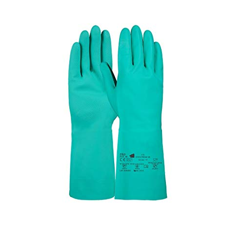 PRO FIT 12 Paar Trivex Nitril Chemikalienschutzhandschuh 33 cm (10, grün)