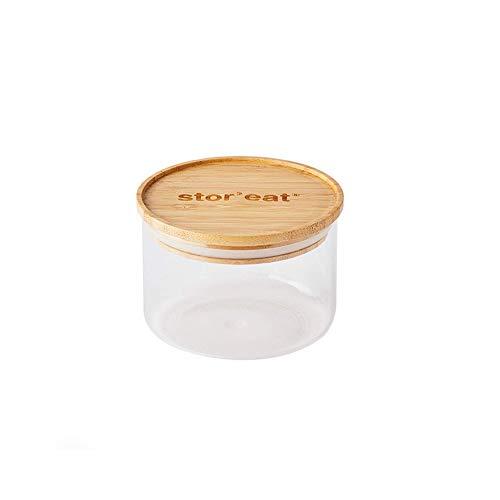 Mastrad - Bocal De Stockage - Connecté Stor'Eat - Verre Borosilicate Résistant - Protège de l'Humidité - Couvercle Hermétique - Coloris Bambou - Sans BPA - 400 ml