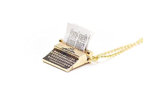 Miniblings Schreibmaschine Kette Halskette 80cm Schreiben Schriftsteller Autor Gold- Handmade Modeschmuck - Kugelkette versilbert