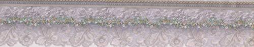 Tapetenbordüre, wundervolle graue Blumen, Vintage