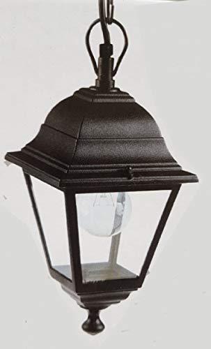 Lanterna A Soffitto Struttura In Alluminio. Verniciata Nera. Con Catena Da Cm. 65. Dimensioni: Cm 14,5X14,5Xh92.