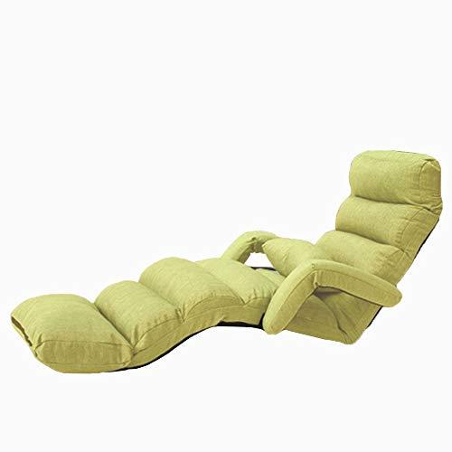 MMK Puf Sillón sofá Perezoso amamantamiento Plegable Ajustable balcón Cama (Color : Green)