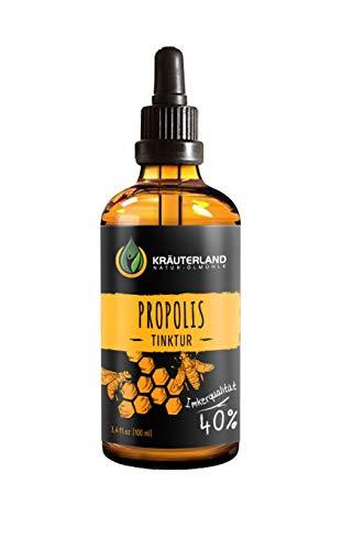 Kräuterland - Propolis Tinktur 40% 100ml - aus natürlichem Propolis Extrakt ca. 98% Reinpropolis - Bienenharz in Imker-Qualität