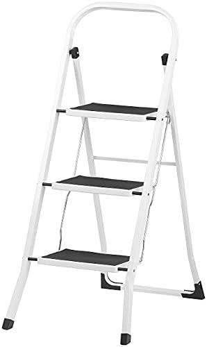 AGT Leiter: Ultrakompakte Stahl-Trittleiter mit 3 Stufen und Handlauf, bis 150 kg (Multifunktions Leiter)