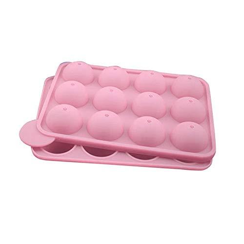 Molde redondo de 12 agujeros para tortas con forma de piruleta, molde antiadherente para chocolate, con palitos para cubitos de hielo (color: rosa)