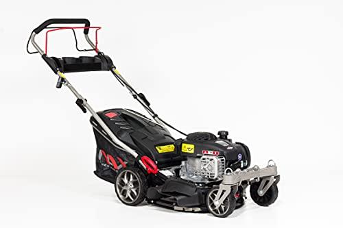 NAX POWER PRODUCTS 1000S Motor Briggs & Stratton 450E Series 125 cm3 Mähbreite 42cm Fangkorb 45l Gehäusereinigungssystem Benzin-Rasenmäher mit Antrieb, Schwarz